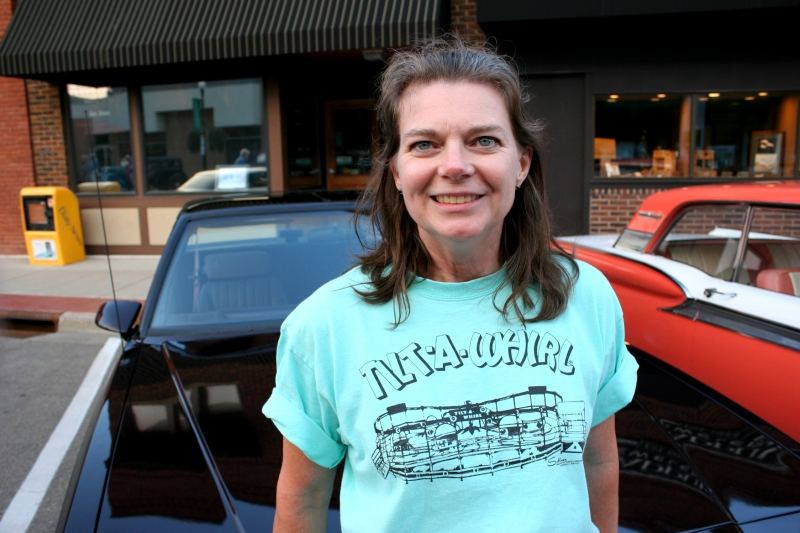 Karen Bussert creates Tilt-A-Whirl themed t-shirts like this one modeled by Faribault native Janet Timmers.