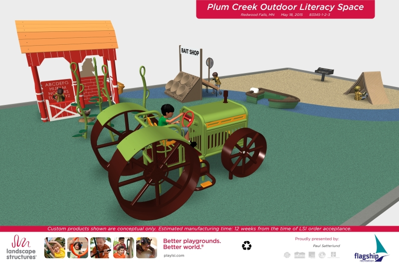 This shows plans for the custom-designed Outdoor Early Literacy Area planned for the Redwood Falls Public Library. The playground equipment will be custom made and themed to agriculture and camping. Image courtesy of the Redwood Falls Public Library.