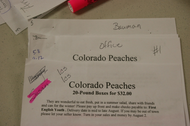 Peach paperwork and suggestions on how to eat peaches.