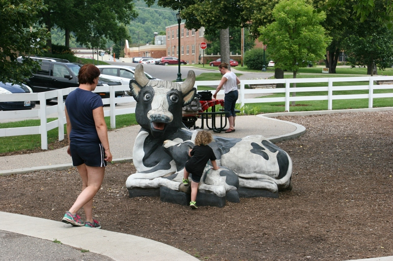 The farm animal sculptures provide perfect photo opportunities.