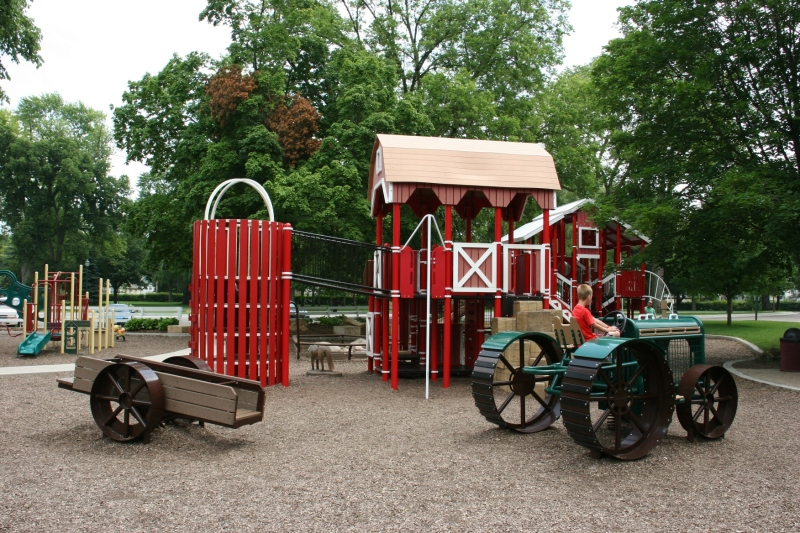 The fabulous farm-themed playground.