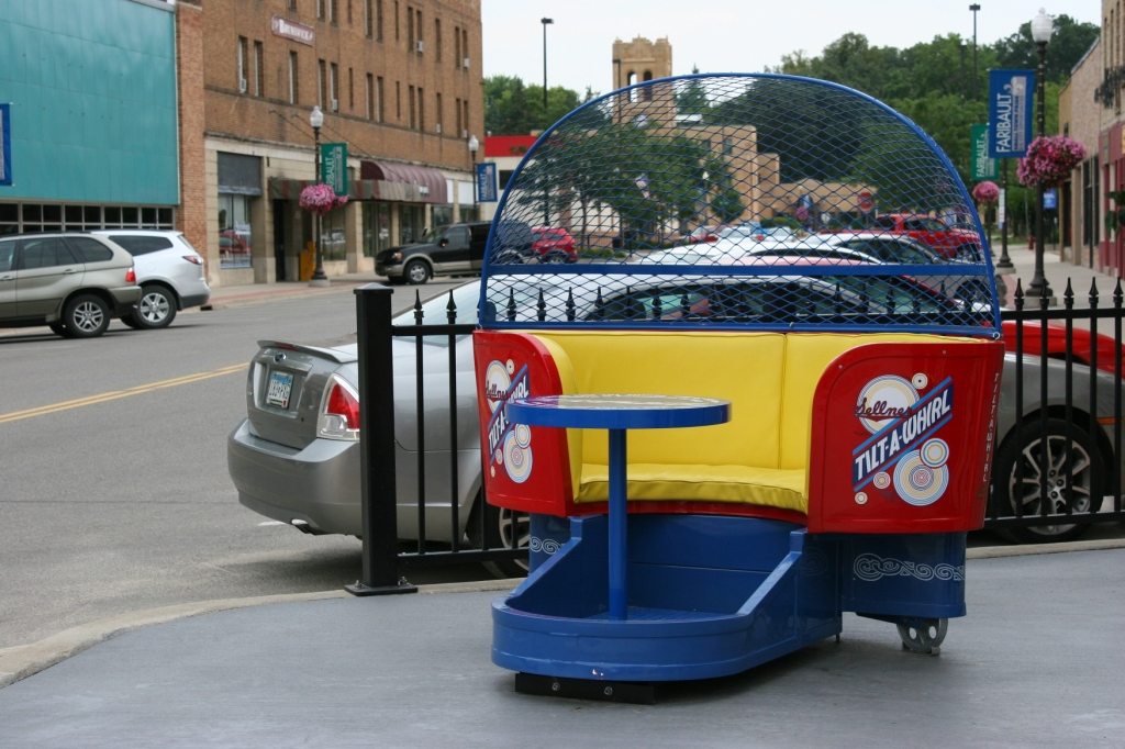 The restored Tilt-A-Whirl sits in downtown Faribault, just two blocks from Buckham Memorial Library.