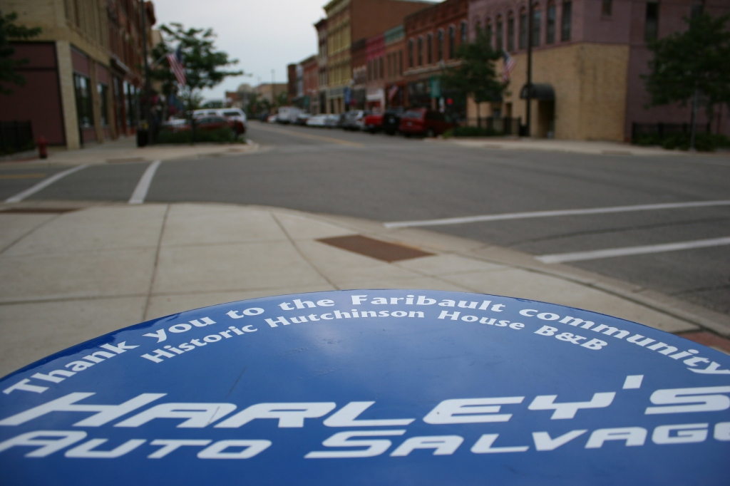Words imprinted upon the table in the Tilt-A-Whirl car honor those involved with the project:
