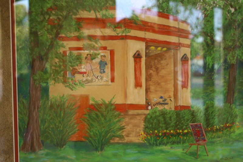 """At the Bandshell"" in soft pastels by Barbara Bruns"