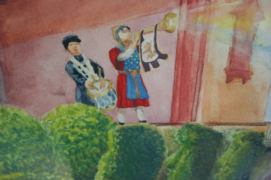 """A section of Nicole Volk's """"Camelot Calls,"""" inktense on watercolor paper"""