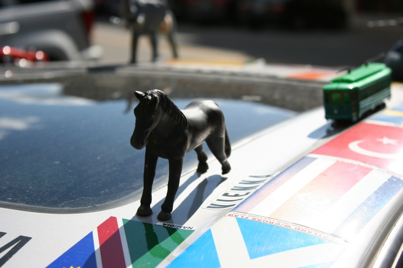 Art car, horse on roof