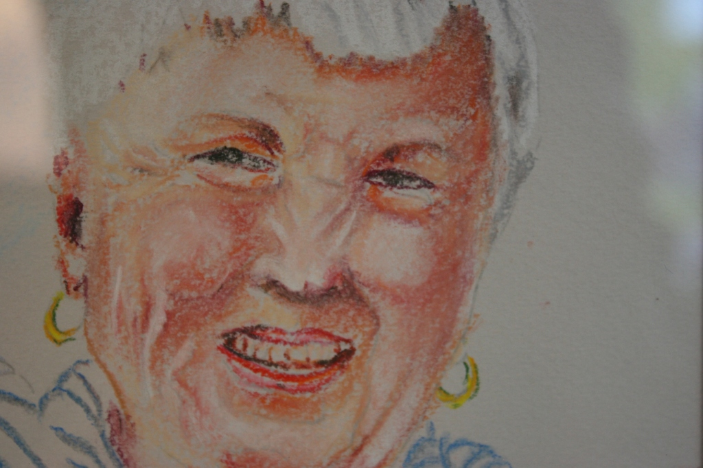 """This shows one of the many faces in Irina Mikhaylova's """"Faces in the Crowd"""" done in soft pastels."""