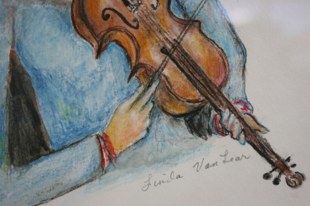 """A snippet of Linda Van Lear's """"Girl & Violin"""" watercolor pencil"""