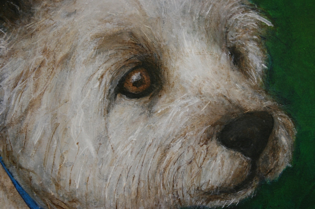 """Murphy's face in """"Murphy at Central Park,"""" acrylic on hardboard by Julie Fakler"""