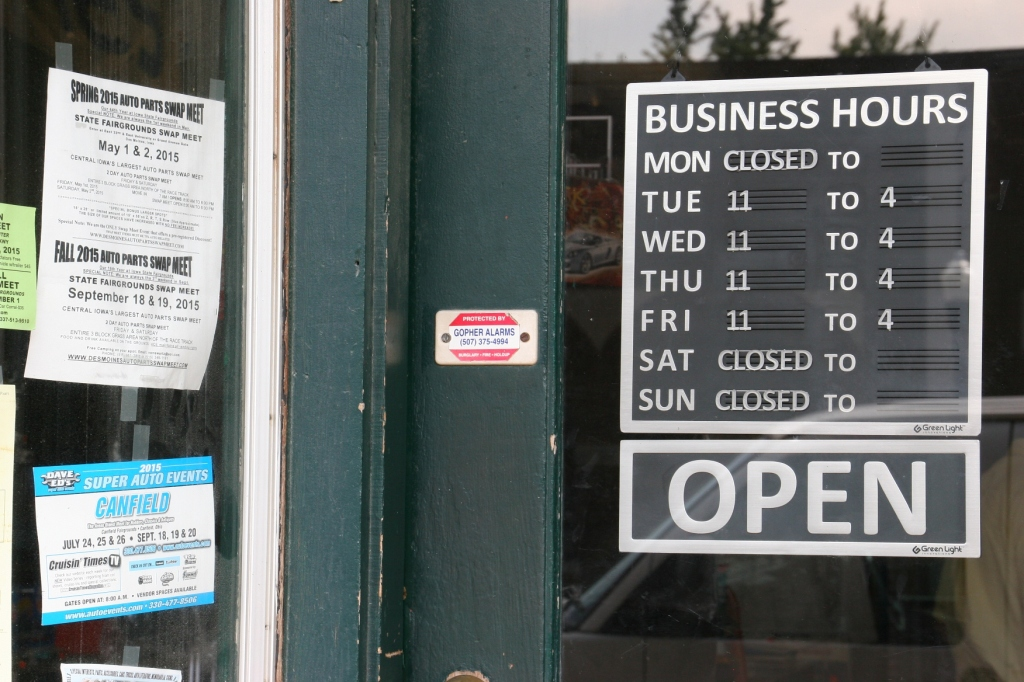 Woody's isn't necessarily open during the hours advertised on his business door.