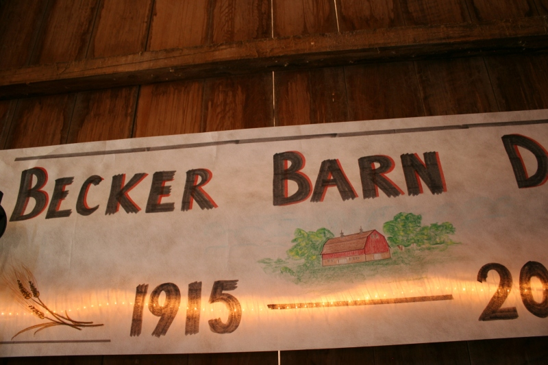 Barn dance, 127 Becker barn banner close-up