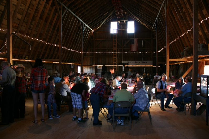 Dining in the barn.