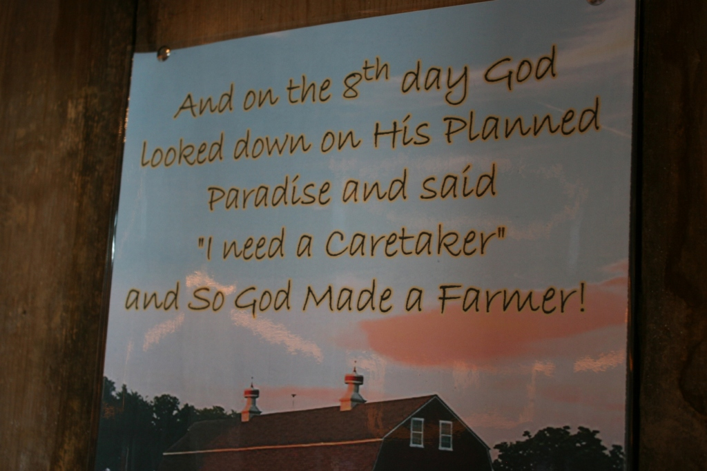 Posted inside the barn...