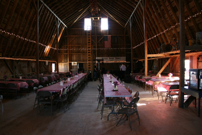 The band, Downtown Sound, sets up inside the Becker barn for a 10th birthday barn dance.