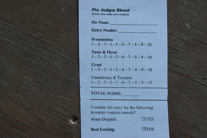 I'm sure the four judges will always remember the difficulty of choosing winners in the homemade pie judging contest.