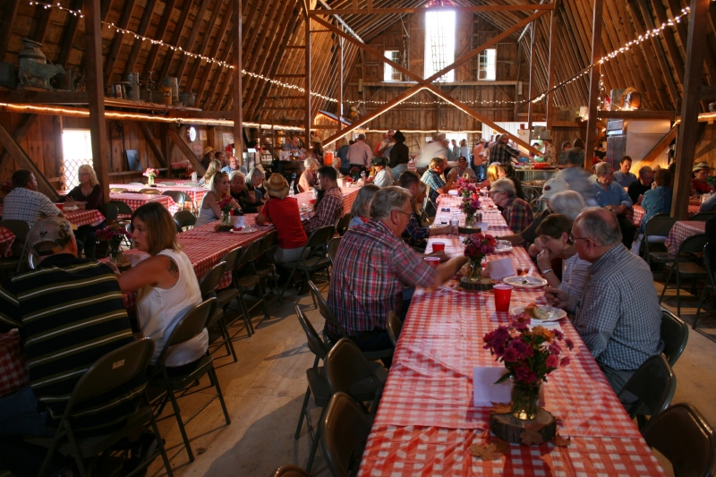 Guests pulled up to tables and dined on hot beef and pork sandwiches, salads and more.