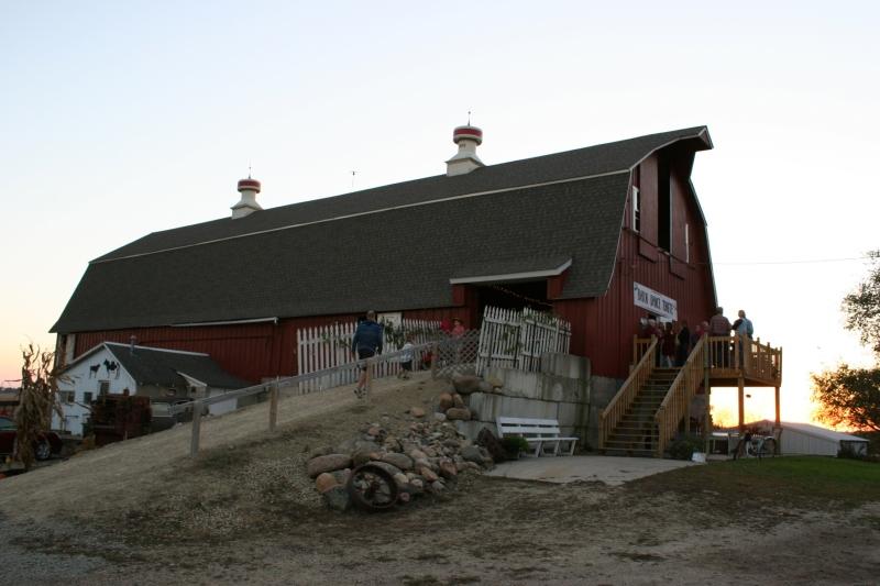 The sun sets behind John and Debbie Becker's rural Dundas, Minnesota, barn.