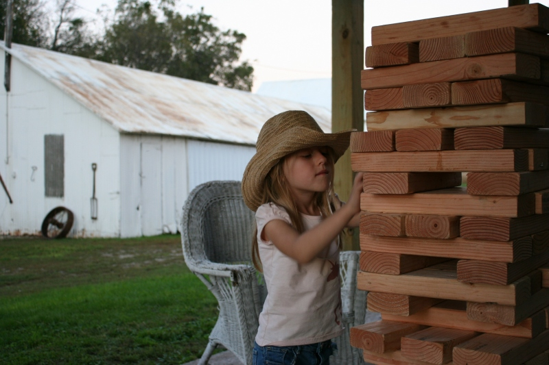 Playing with the rural version of Jenga blocks.
