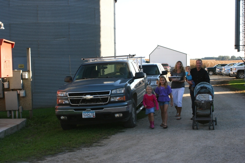 Family arrives for the barn dance and party.