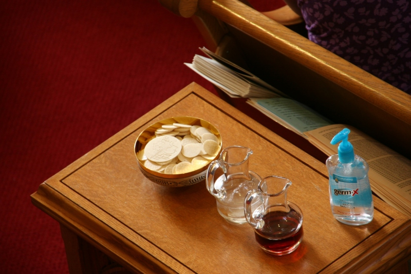 The bread and the wine before it is carried to the front of the sanctuary.