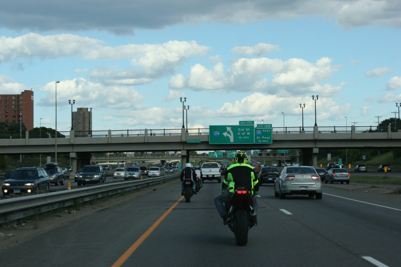 Bikers on I-35 near downtown Minneapolis