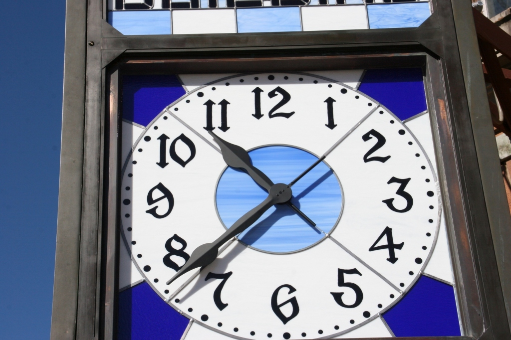 Telling time Sunday morning.