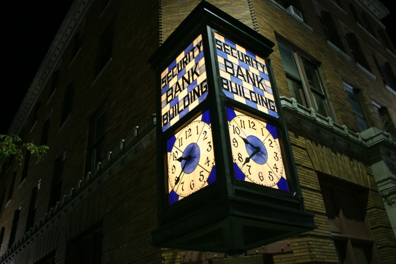 The beautiful glowing clock photographed at 9 p.m. Saturday.