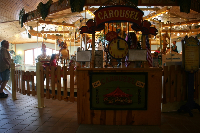 For $2, kids can ride this one-of-a-kind carousel.