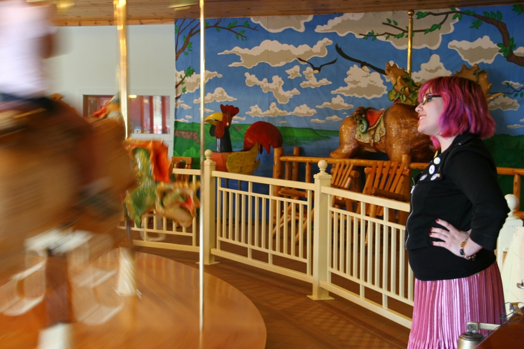 This LARK employee dressed the part of a fun-loving carousel attendant.