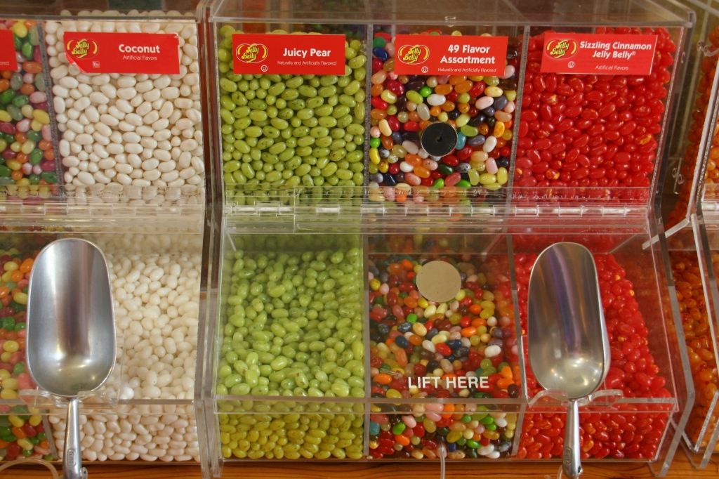 Jelly bean and other candy choices are plentiful.