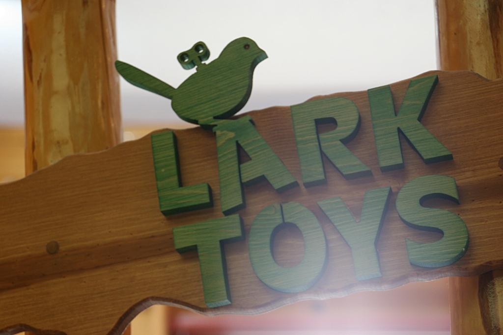 A handcrafted sign inside LARK Toys, Kellogg, Minnesota.