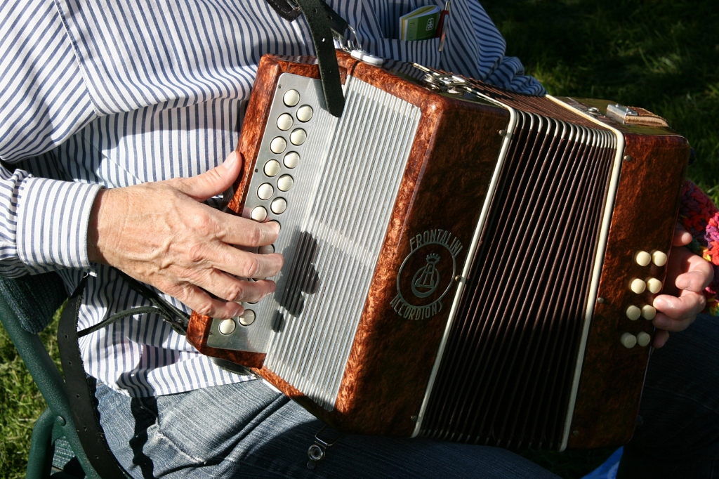 A musician plays her accordion at the market.