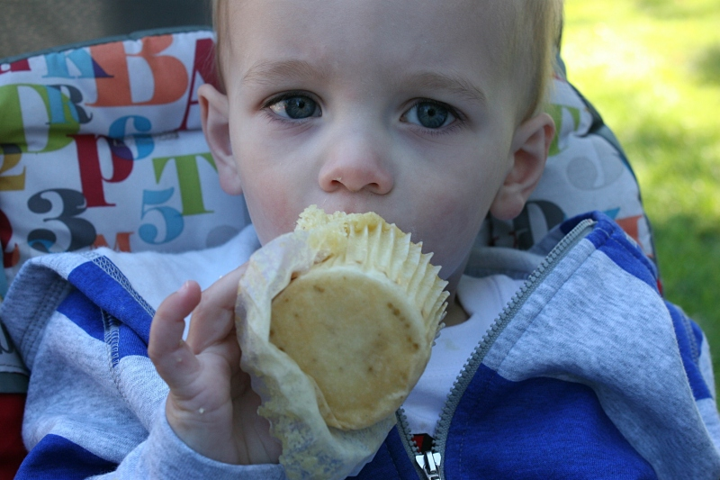 Henry, 21 months, enjoyed a cupcake from Bluebird Bakery.