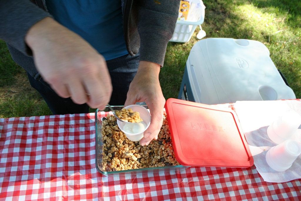 Anne from Know-How Brews & Foods, spooned granola onto homemade yogurt as she handed out samples.