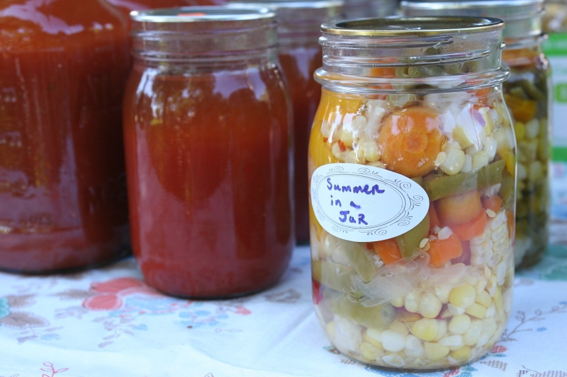 "This jar of veggies carries the perfect name, ""Summer in a Jar."""