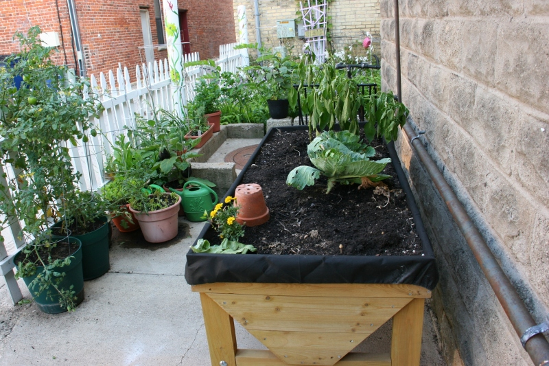 The garden even includes a raised bed for veggies and flowers.