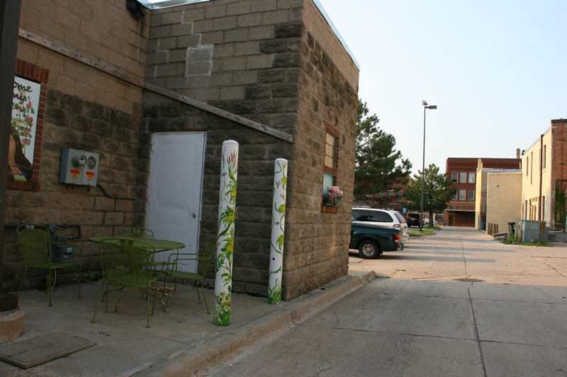 The garden is in an alley space in the heart of historic downtown Faribault.