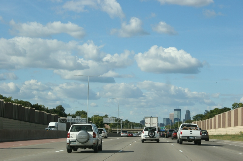 Frame 1: Northbound on Intestate 35W toward downtown Minneapolis.