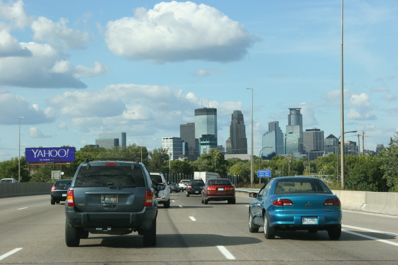 Frame 3: Traffic builds as you approach the downtown.