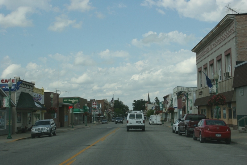 Driving through downtown St. Charles, Minnesota, population around 3,700.