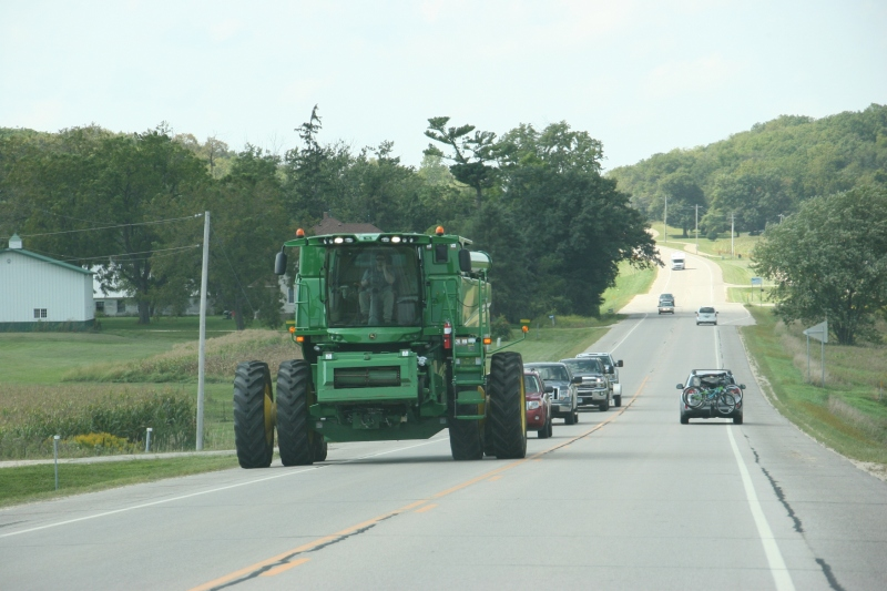 On the east edge of St. Charles we spotted this brand new combine along U.S. Highway 14.