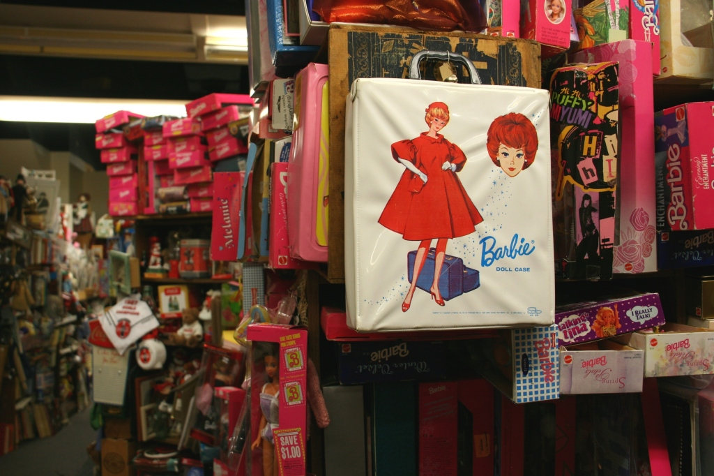 There's a whole section of Barbie dolls and Barbie stuff.