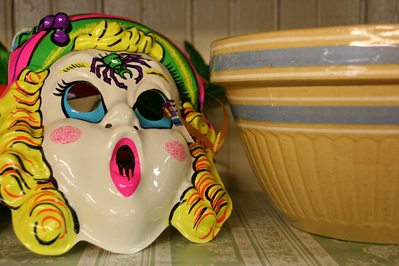 A Halloween mask for sale at Antiques of the Midwest.