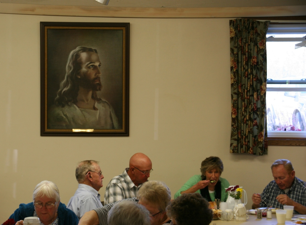 Dining in the church basement.