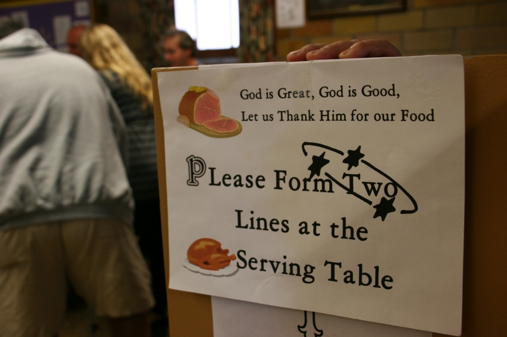 Two lines keep things moving. About 430 diners attended Sunday's dinner.