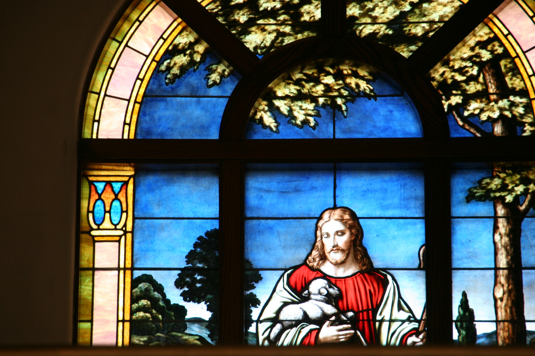 From North Morristown Church Basement Food Fellowship Dinner 129 Jesus Holding Lamb Stained Glass