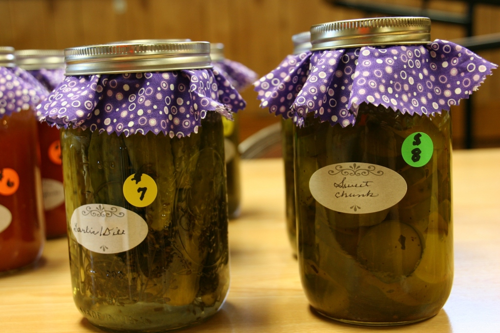 Church members brought in canned produce to sell like these pickles.