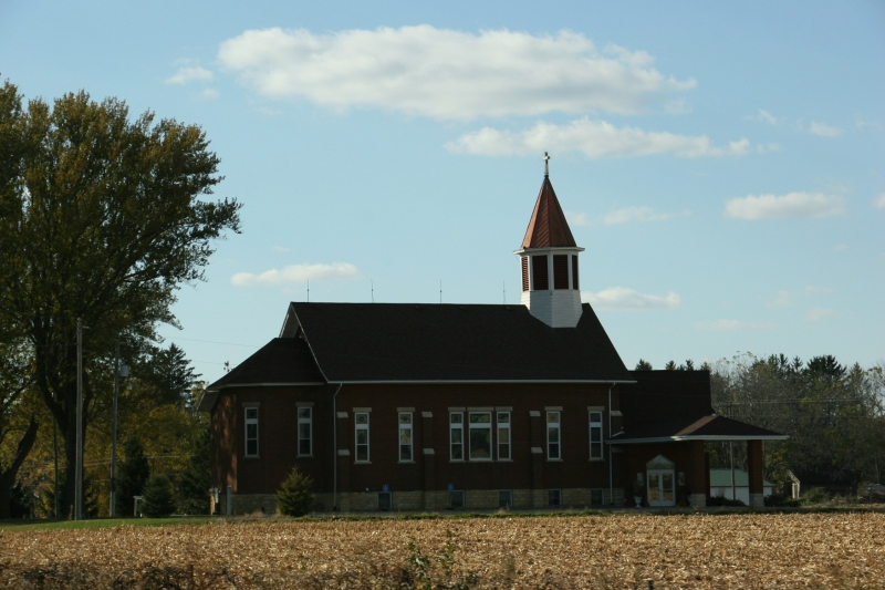 A country church along Interstate 90 near the Winona exit reminds me of blessings and thankfulness, especially at harvest time.