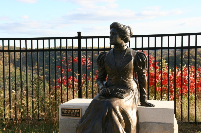 This sculpture, installed in September, honors La Crosse resident Ellen Hixon. Sh saved this bluff from developers.