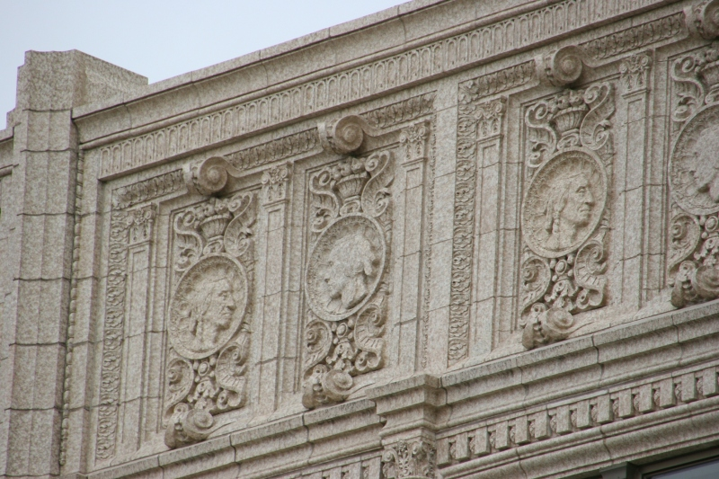 Architectural details on the bank.